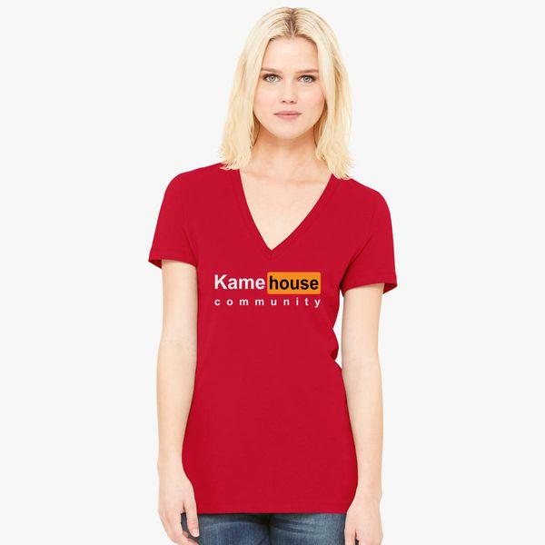 K A M E  HOUSE HOME OF DANK MEMES AND WET DREAMS Women's V-Neck T-shirt -  Customon