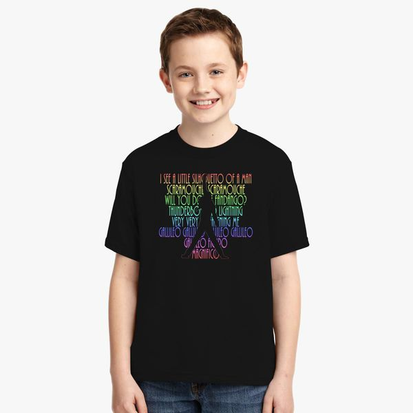 cff3d16b BOHEMIAN RHAPSODY Lyrics With Freddie Silhouette Youth T-shirt ...