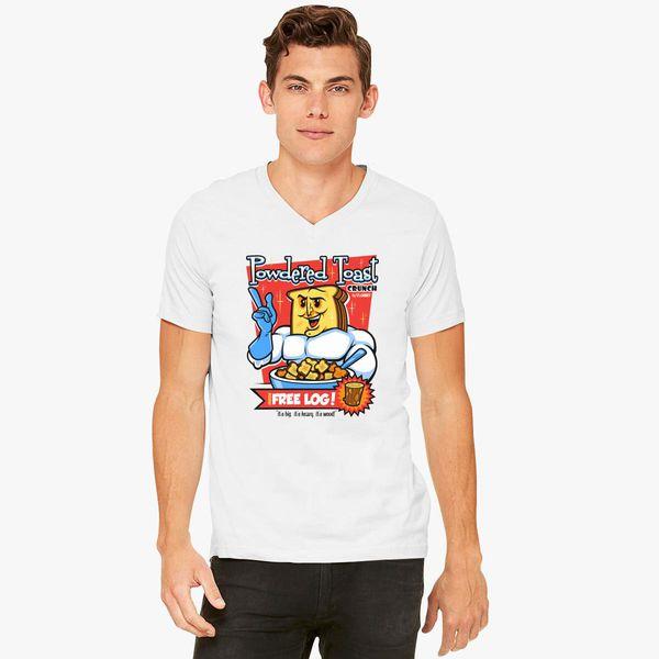 Powdered Toast Crunch with Free Log Ren Stimpy Mens T-Shirt,Black,Large