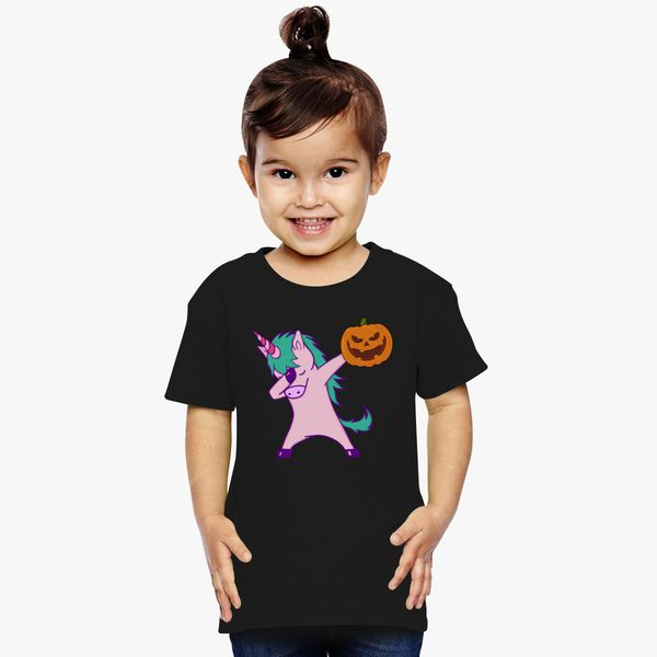 4ec7062ec94 Dabbing Unicorn with Halloween Pumpkin Toddler T-shirt - Customon ...