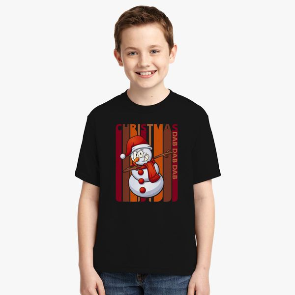 vintage christmas snowman dabbing dab party gifts youth t shirt