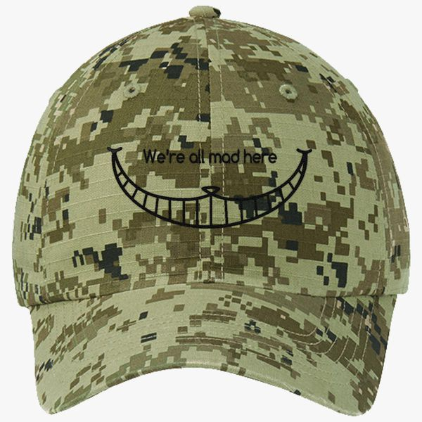 d07566c456b We are all mad here - Cheshire Cat Ripstop Camouflage Cotton Twill Cap  (Embroidered)