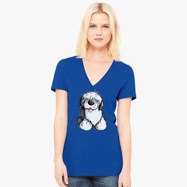 Bobbie Old English Sheepdog Women's V-Neck T-shirt - Customon