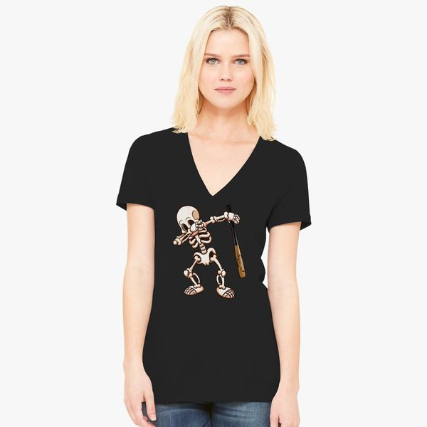 21263a013 ... Baseball Dabbing Skeleton Women s V Neck T shirt Customon