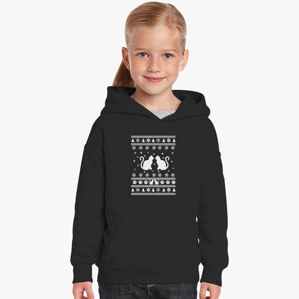 Ugly Christmas Sweater Kids.Cat Ugly Christmas Sweater Kids Hoodie Customon