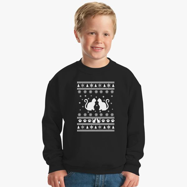 Ugly Christmas Sweater Cat.Cat Ugly Christmas Sweater Kids Sweatshirt Customon