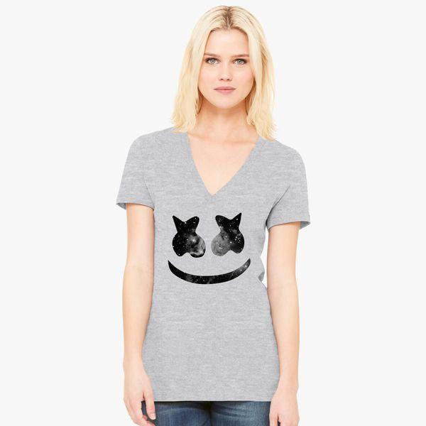 9628a62941a783 Marshmello face smile Women s V-Neck T-shirt - Customon
