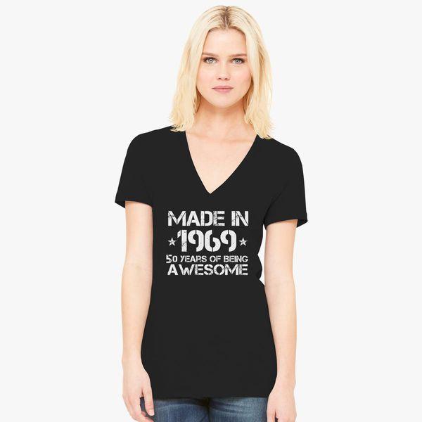 Made In 1969 50th Birthday Womens V Neck T Shirt