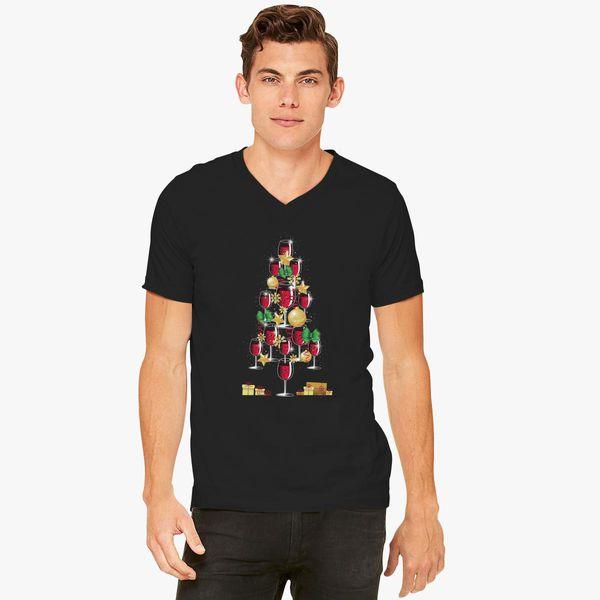 Wine Christmas Tree Shirt.Merry Wine Christmas Tree V Neck T Shirt Customon