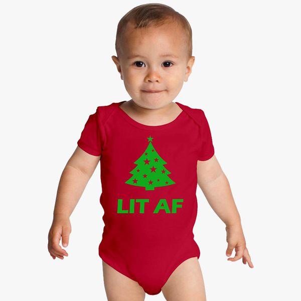 Lit As A Christmas Tree Infant Baby Bib Baby