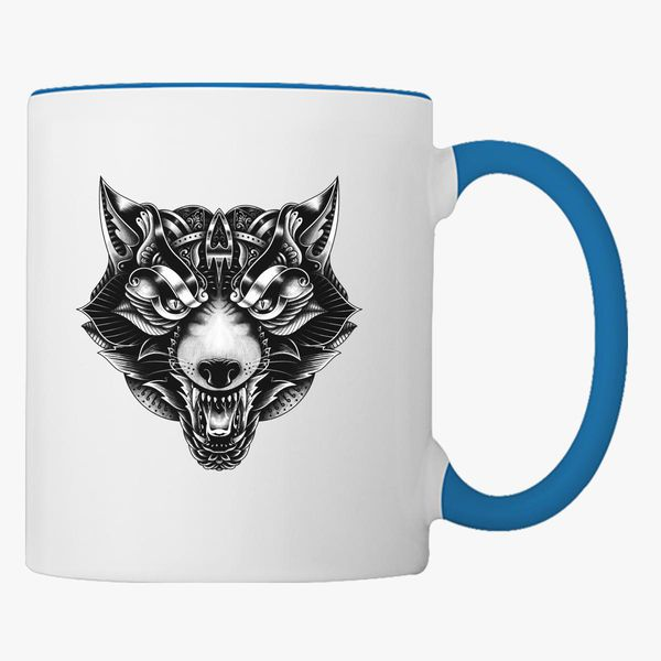 Angry Wolf Ornate Coffee Mug Customon