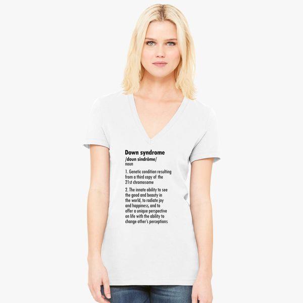 DOWN SYNDROME DEFINITION Women's V-Neck T-shirt - Customon