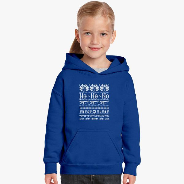 Blue And White Christmas Sweater.Mcclane Christmas Sweater White Kids Hoodie Customon