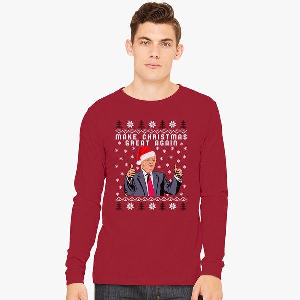 Christmas Trump Shirt.Trump Make Christmas Great Again Long Sleeve T Shirt Customon