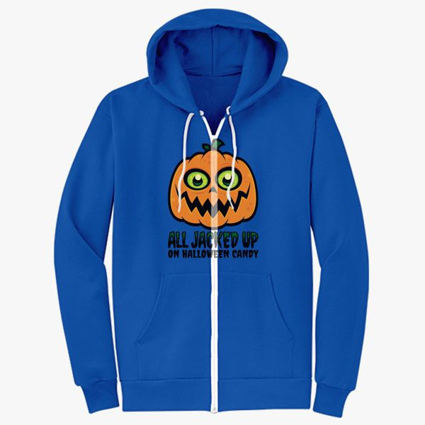 dab3d6d16 All Jacked Up on Halloween Candy Jack-O'-Lantern Unisex Zip-Up ...