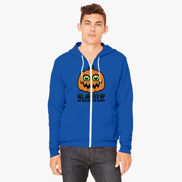 ae3a3ac86 All Jacked Up on Halloween Candy Jack-O'-Lantern Unisex Zip-Up Hoodie