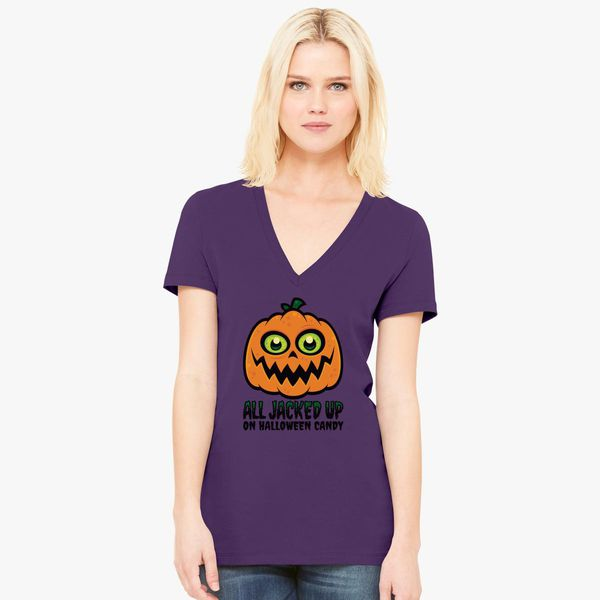058c17ff2 All Jacked Up on Halloween Candy Jack-O'-Lantern Women's V-Neck T-shirt