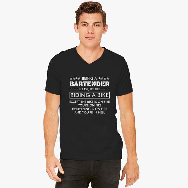 e19df50d9a Being a Bartender is like Riding a Bike V-Neck T-shirt - Customon