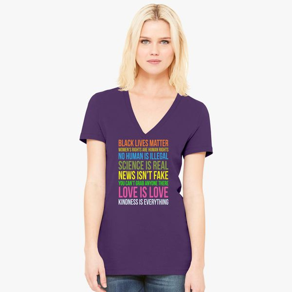 Kindness Is Everything Love V-neck Shirts Tshirts for Women Manifest Your Values