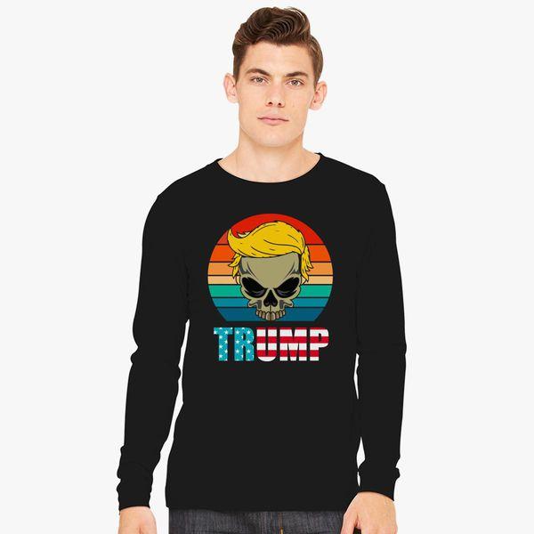 Funny Trump Skull Long Sleeve T Shirt Customon