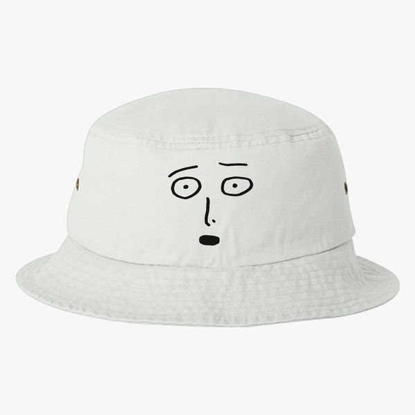 aea91a44738 Saitama One Punch Man Funny Face Black Bucket Hat (Embroidered ...