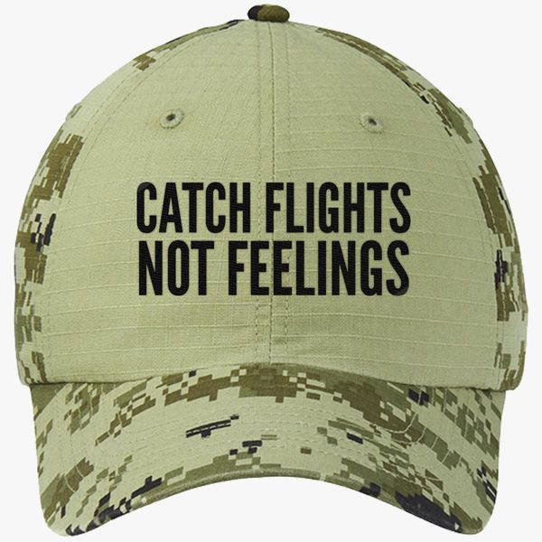 9b2ed845c65c9 Catch Flights Not Feelings Colorblock Camouflage Cotton Twill Cap -  Embroidery