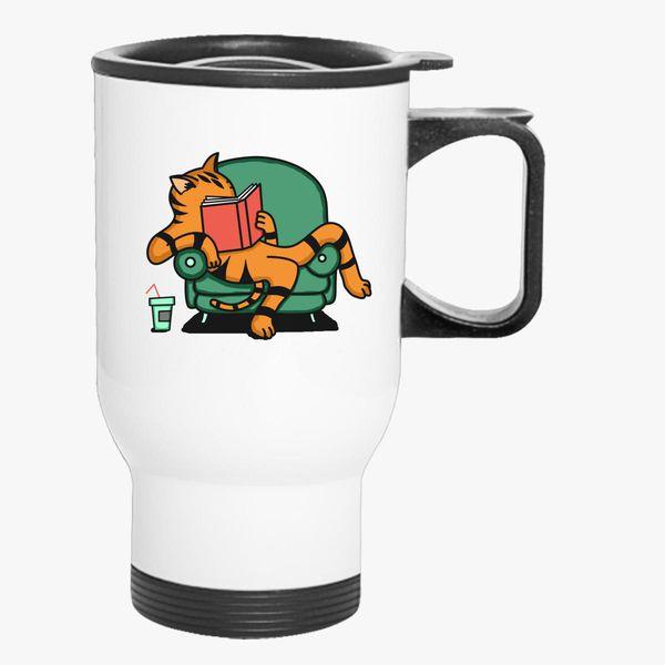 Customon Customon Mug Cat Cat Travel Mug Travel Reading Reading Cat ARj354L