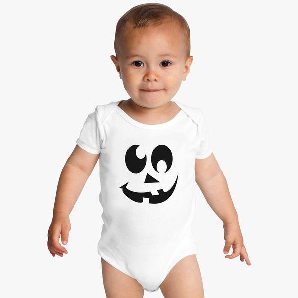 b969223afc8 Pumpkin Face - Funny Halloween Baby Onesies - Customon
