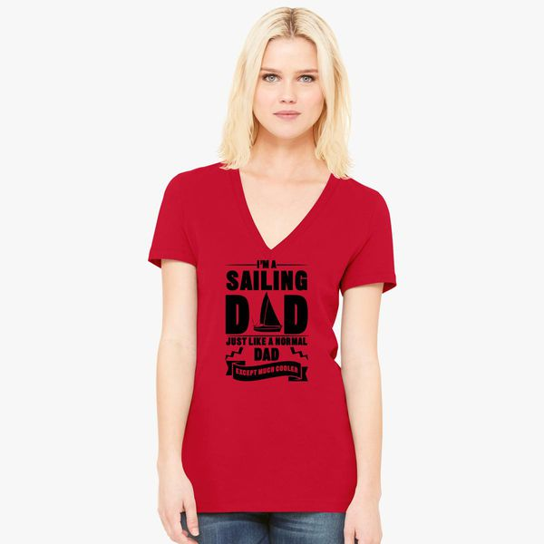 3767508a Sailing Dad Women's V-Neck T-shirt - Customon