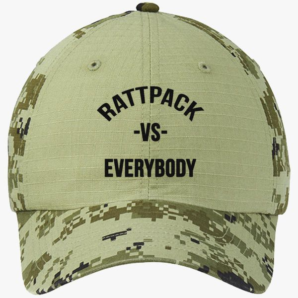 2713cd1879bd1 RattPack VS Everybody Black T-Shirt Colorblock Camouflage Cotton Twill Cap  - Embroidery