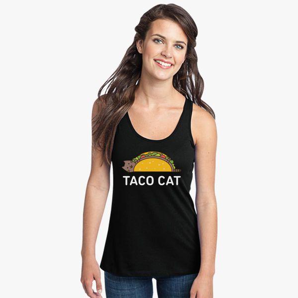 4aff262c54 Funny Taco Shirt Cinco De Mayo T Shirt Taco Cat T Shirt Mexican Food Joke  Gifts For Cat Lovers Women's Racerback Tank Top