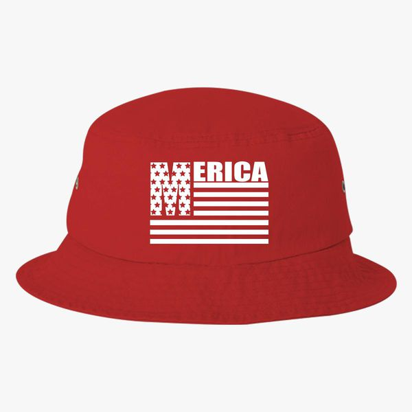 0fe408351 Merica Stars And Stripes Cool United States Of America Flag Bucket Hat  (Embroidered) - Customon