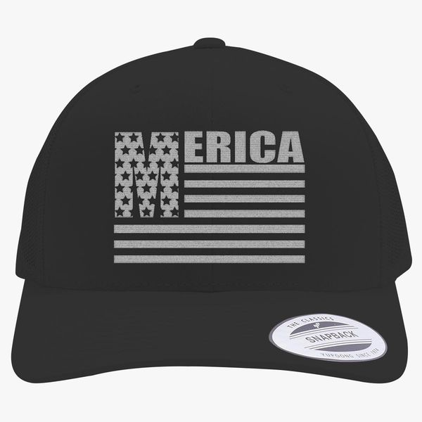 Merica Stars And Stripes Cool United States Of America Flag Retro Trucker  Hat (Embroidered) - Customon