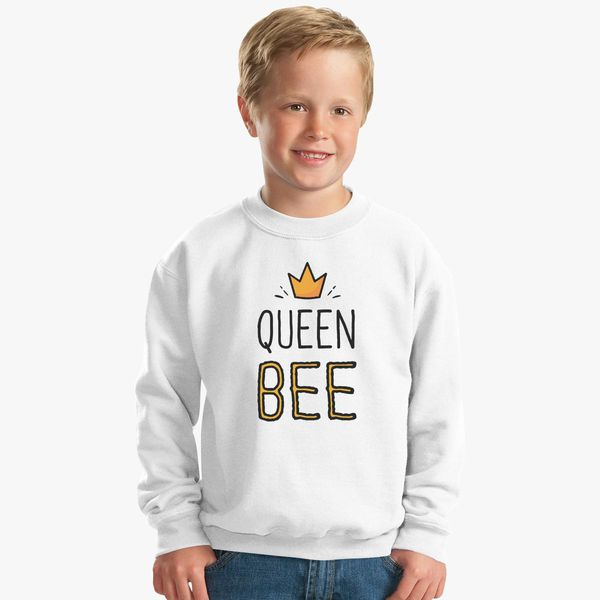 e81755d88d6 Queen Bee Funny Beetle Crown Kids Sweatshirt Customon