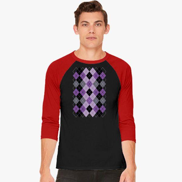 7b02d3a67cc8ff Argyle Design in Purple and Black Baseball T-shirt - Customon