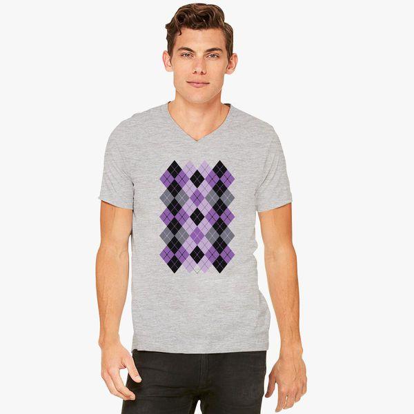 264a9ec5d41ec9 Argyle Design in Purple and Black V-Neck T-shirt - Customon