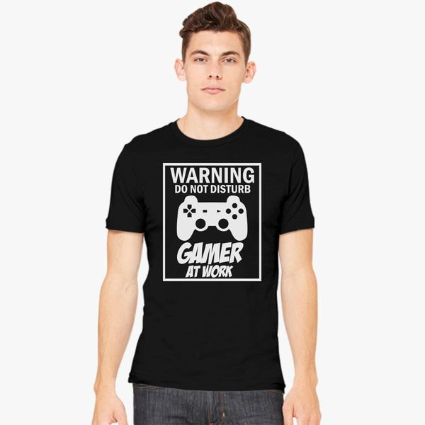 0fa701835573d Warning Do Not Disturb Gamer At Work Men s T-shirt - Customon