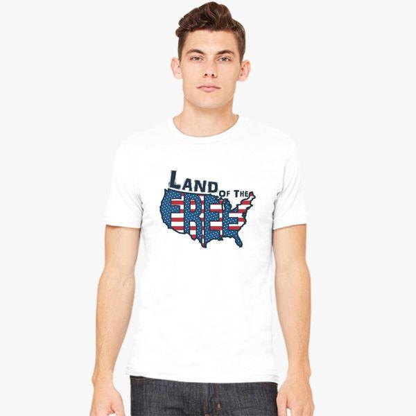 Mens White Land of the Free Joke T-Shirt America USA 4th July TShirt