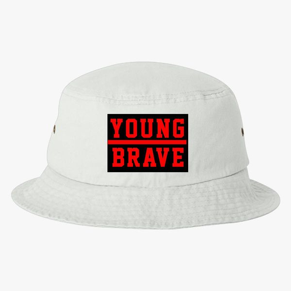 3b87ec8de7c YOUNG BRAVE - RED Bucket Hat (Embroidered) - Customon