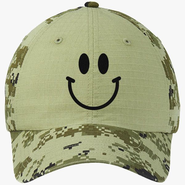 Smile Face Funny Emoji Colorblock Camouflage Cotton Twill Cap (Embroidered)  - Customon