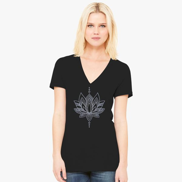 bea085d7e31 Modern Abstract of Beauty Lotus Women's V-Neck T-shirt - Customon
