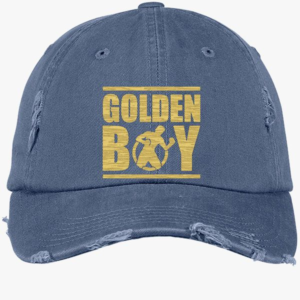 28d50a078 CANELO ALVAREZ - GOLDEN BOY - STYLE GOLD Distressed Cotton Twill Cap  (Embroidered) - Customon