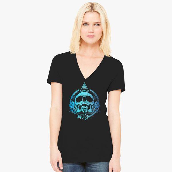11424ae05035d Skull Mayan Aztec Women s V-Neck T-shirt - Customon
