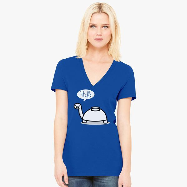 Mine Turtle Stops By To Say Hello Womens V Neck T Shirt Customoncom