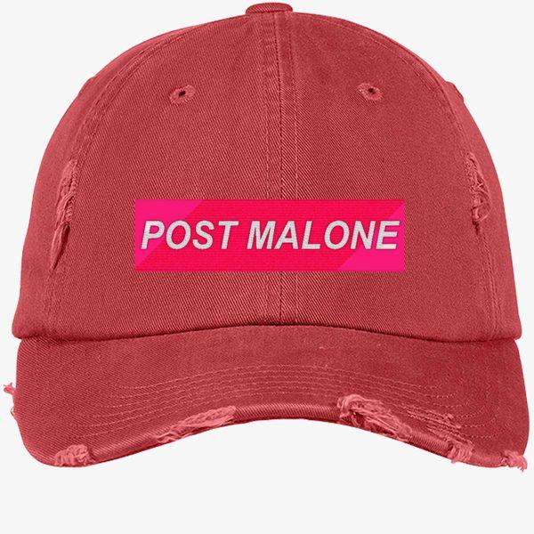 Post Malone Distressed Cotton Twill Cap - Embroidery ... a1cb52b91bbc