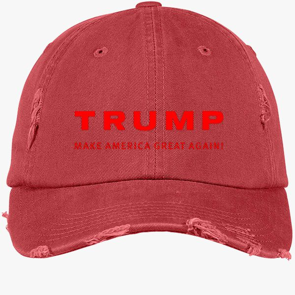 Trump Make America Great Again Distressed Cotton Twill Cap - Embroidery ... b3d97b53815c