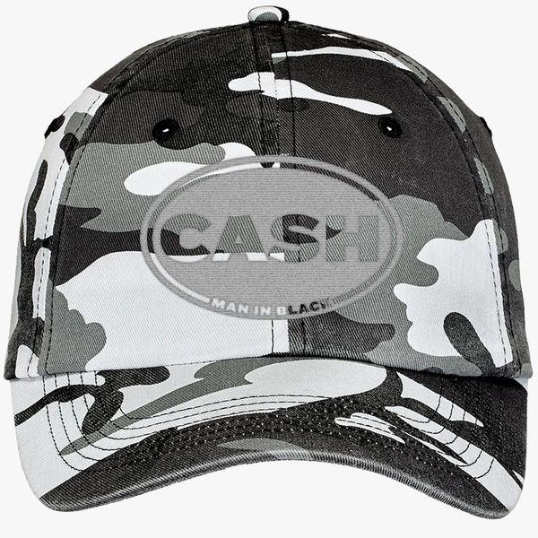 Johnny Cash Man In Black Camouflage Cotton Twill Cap (Embroidered ... 81cfff8f493