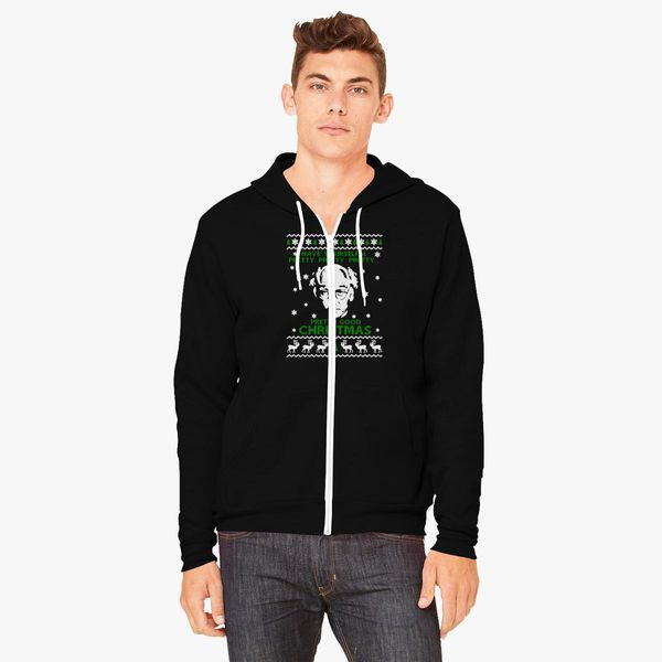 Larry David Pretty Good Christmas Ugly Sweater Unisex Zip Up Hoodie