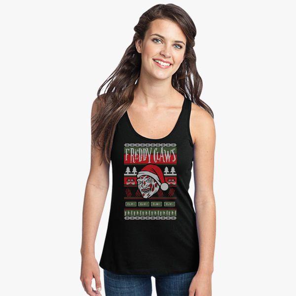 Freddy Krueger Ugly Christmas Sweater Womens Racerback Tank Top