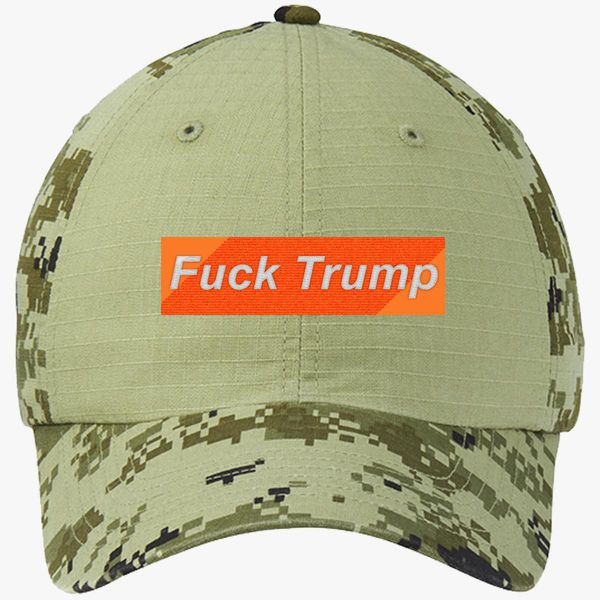 596b2d527d7 Fuck Trump Colorblock Camouflage Cotton Twill Cap (Embroidered ...